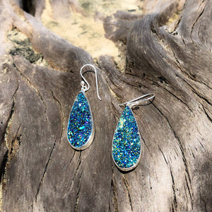 Druzy Tear Drop Dangles Titanium-Jenstones Jewelry