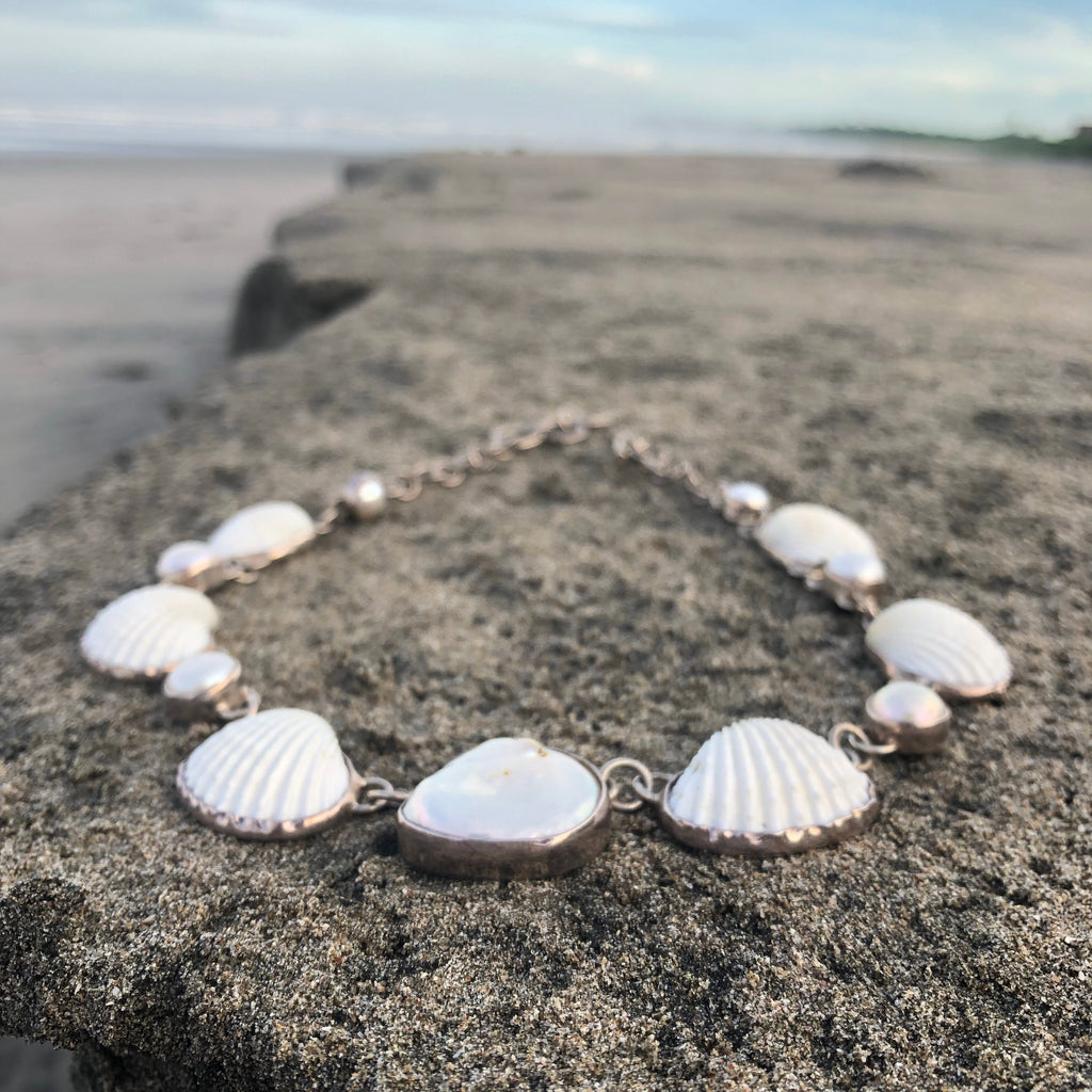 Pearl and Scallop Shell Silver Link Necklace-Jenstones Jewelry