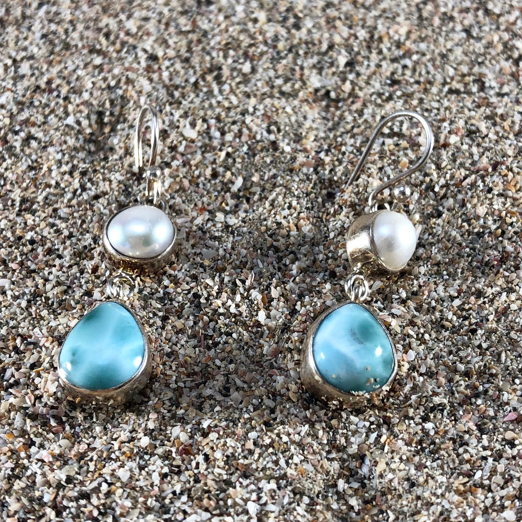 Double Pearl Earrings with Larimar-Jenstones Jewelry