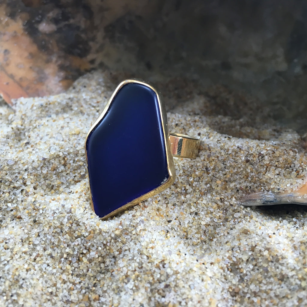GP Bronze Sea Glass Ring Cobalt Blue-Jenstones Jewelry