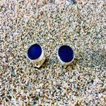 Load image into Gallery viewer, Sea Glass Oval Stud Earrings Blue small-Jenstones Jewelry