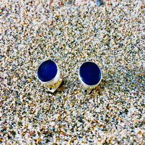 Sea Glass Oval Stud Earrings Blue small-Jenstones Jewelry