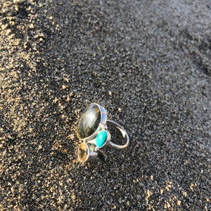 Labradorite, Turquoise and Citrine Ring-Jenstones Jewelry