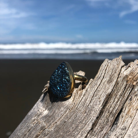 Druzy Bronze Ring Titanium Blue