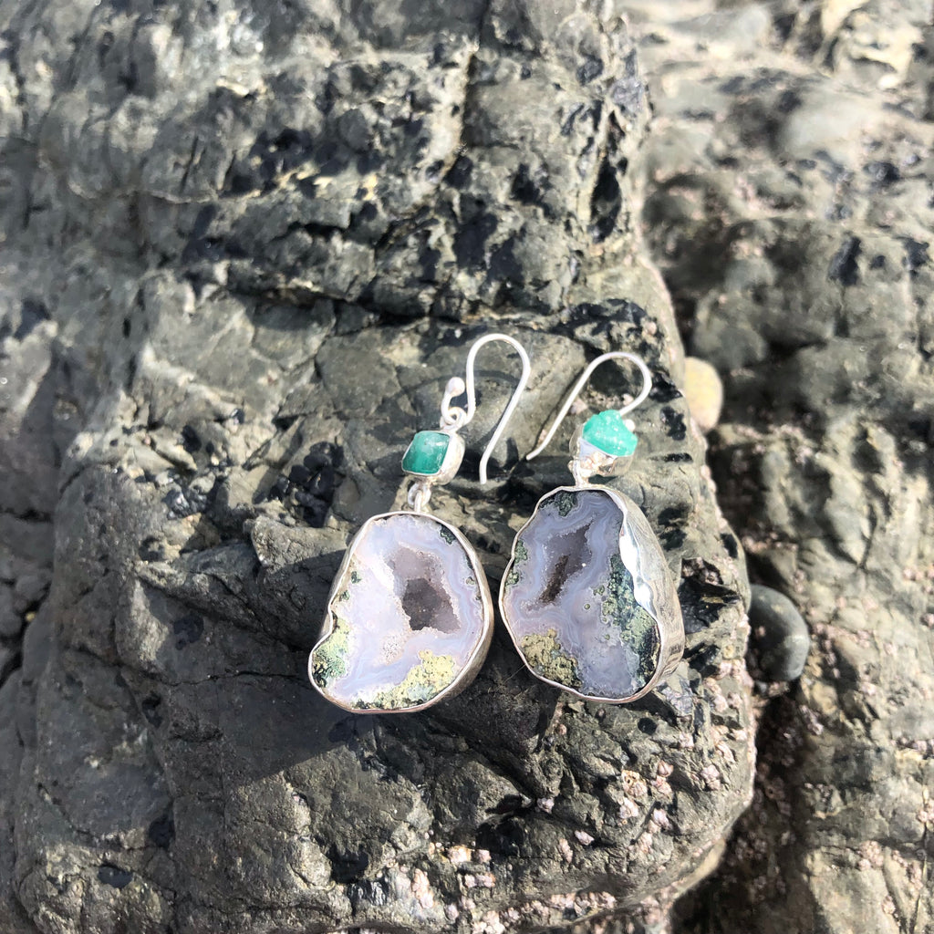 Chunky Geode & Emerald Earrings-Jenstones Jewelry
