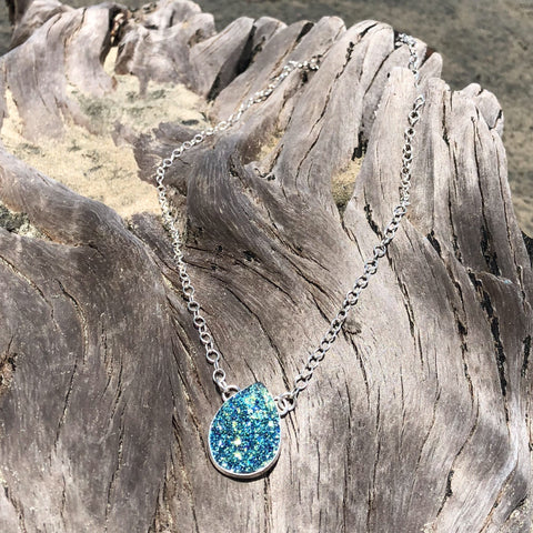 Druzy Necklace Peacock Blue Titanium