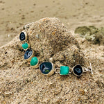 Load image into Gallery viewer, Emerald & Geode Druzy Link Bracelet-Jenstones Jewelry