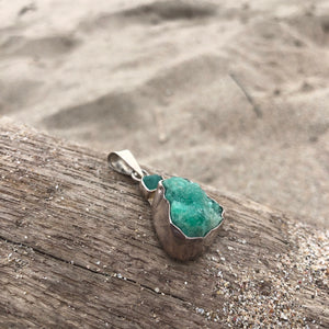 Raw Double Emerald Sterling Silver Pendant-Jenstones Jewelry