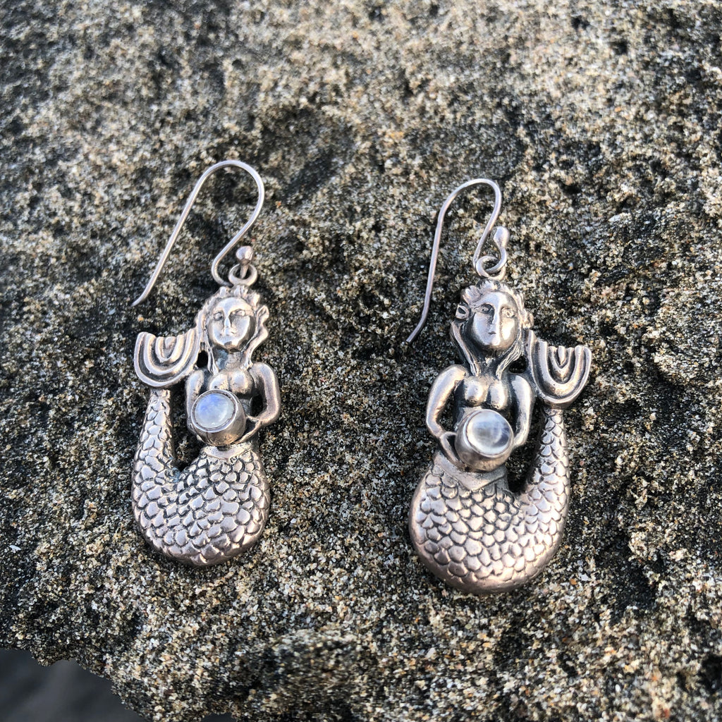 Dangle Earrings Viking Mermaids with Moonstone-Jenstones Jewelry
