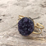 Load image into Gallery viewer, Amethyst Druzy Double Wrap Bronze Cuff-Jenstones Jewelry