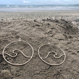 Wave Hoops Hammered Sterling Silver Large Curvy-Jenstones Jewelry