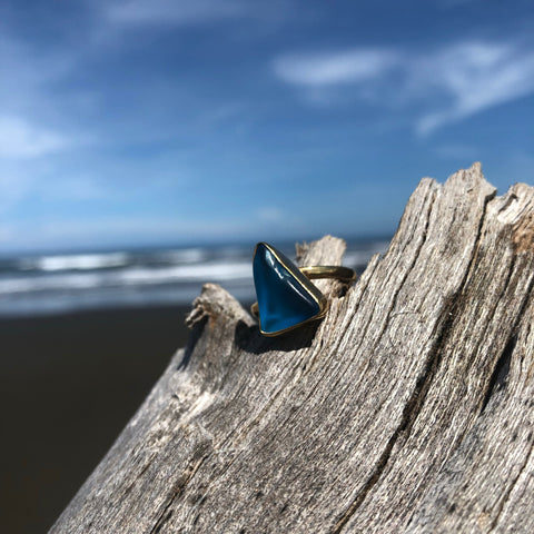 Bronze Sea Glass Aqua Blue Triangle