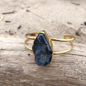 Starry Night Druzy Double Wrap Cuff-Jenstones Jewelry