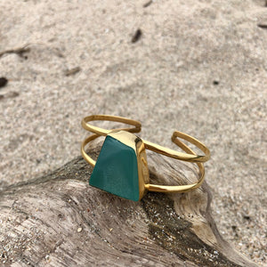 Green Blue Druzy Double Wrap Cuff-Jenstones Jewelry