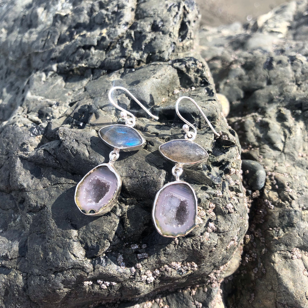 Labradorite Eye & Geode Earrings-Jenstones Jewelry