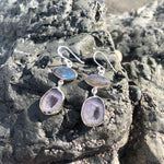 Load image into Gallery viewer, Labradorite Eye & Geode Earrings-Jenstones Jewelry