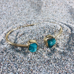 Emerald Wrap Cuff, Gold Plated Bronze-Jenstones Jewelry
