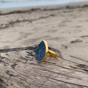 Deep Sea Druzy Ring-Jenstones Jewelry
