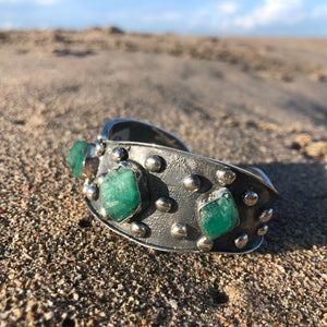 Emerald Triple Cuff Repousse' with Studs-Jenstones Jewelry