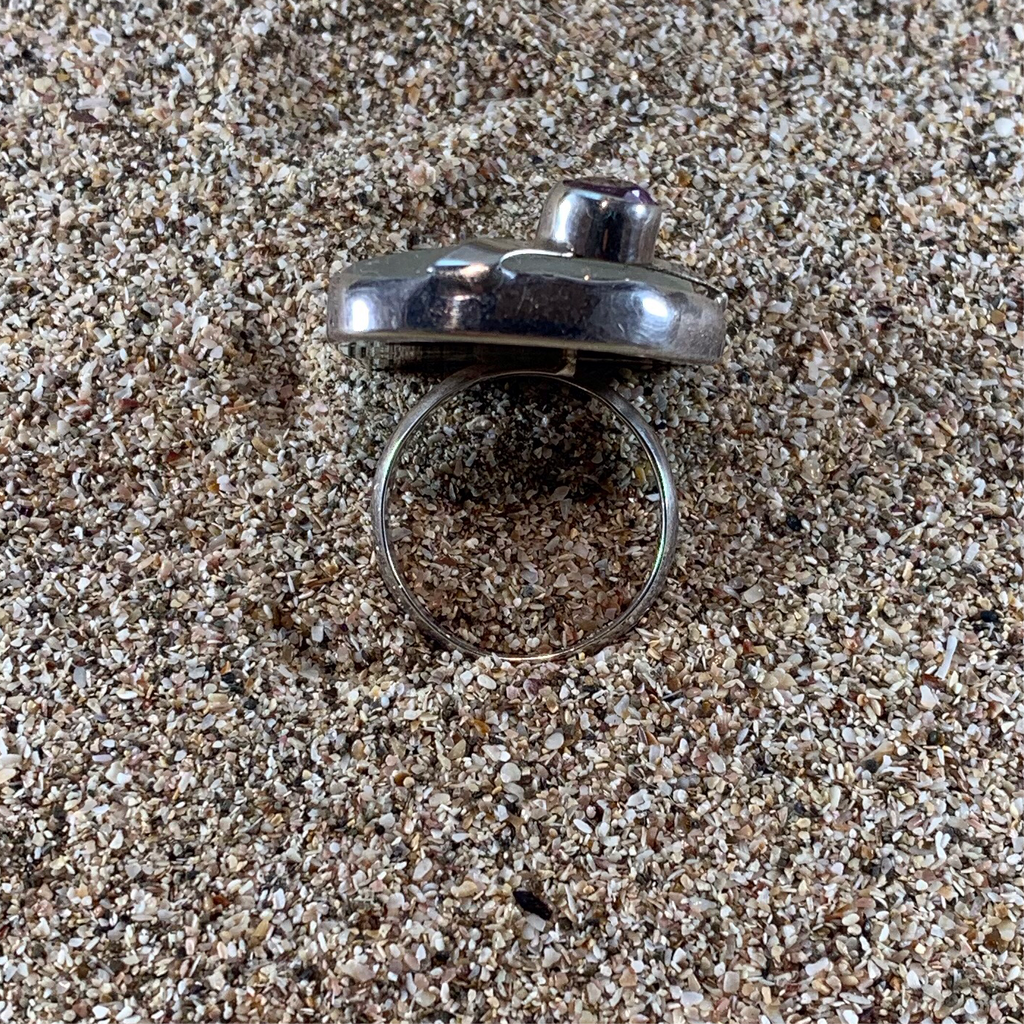 Sea Glass Ring White w/ Amethyst-Jenstones Jewelry