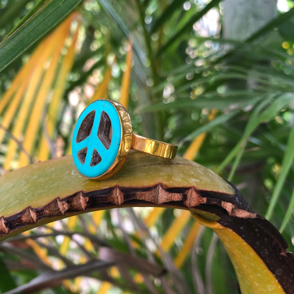 Turquoise Peace Bronze Ring-Jenstones Jewelry