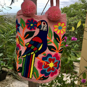 Mochila Pink Parrot Large Pom Pom Braid Design-Jenstones Jewelry