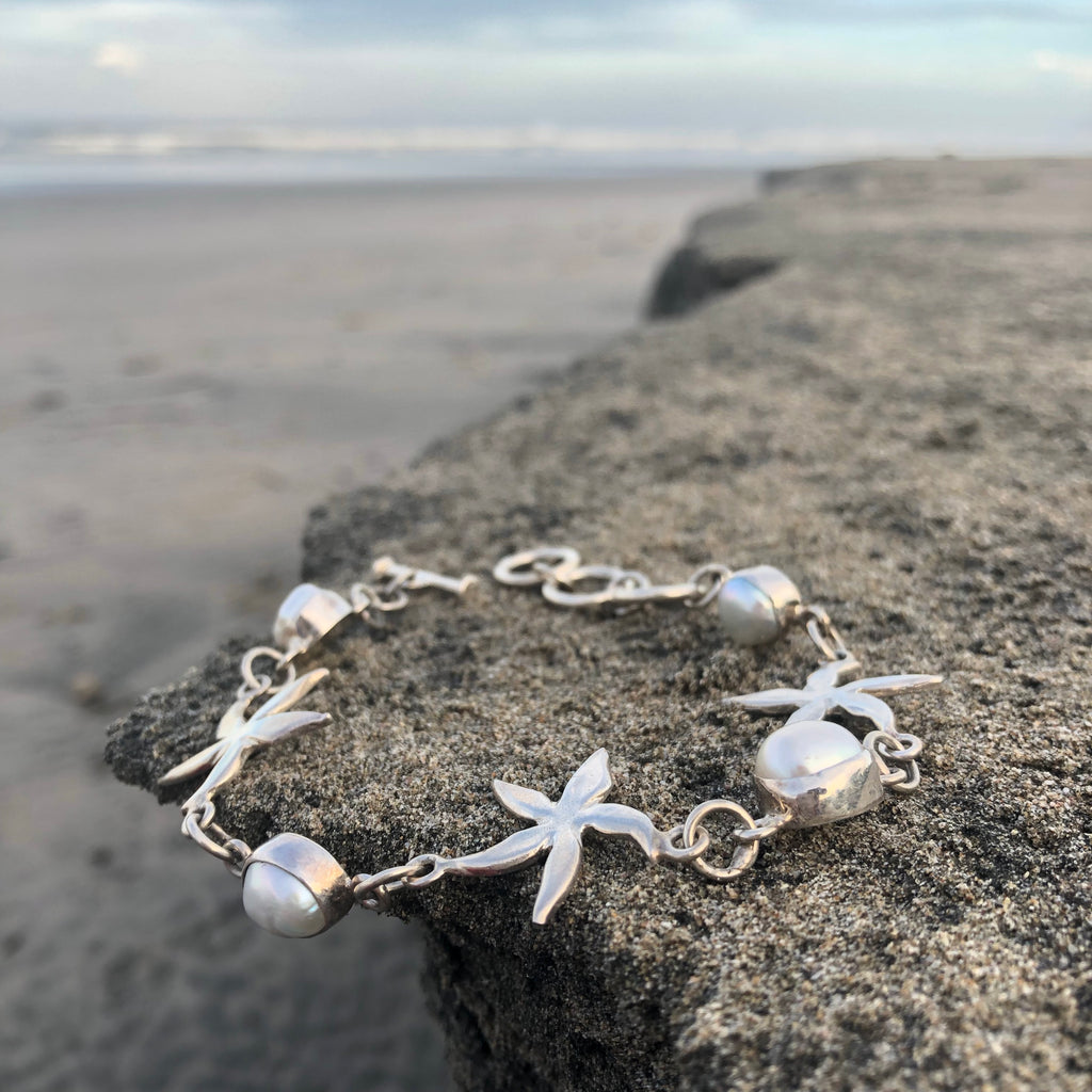 Starfish and Pearl Silver Link Bracelet-Jenstones Jewelry