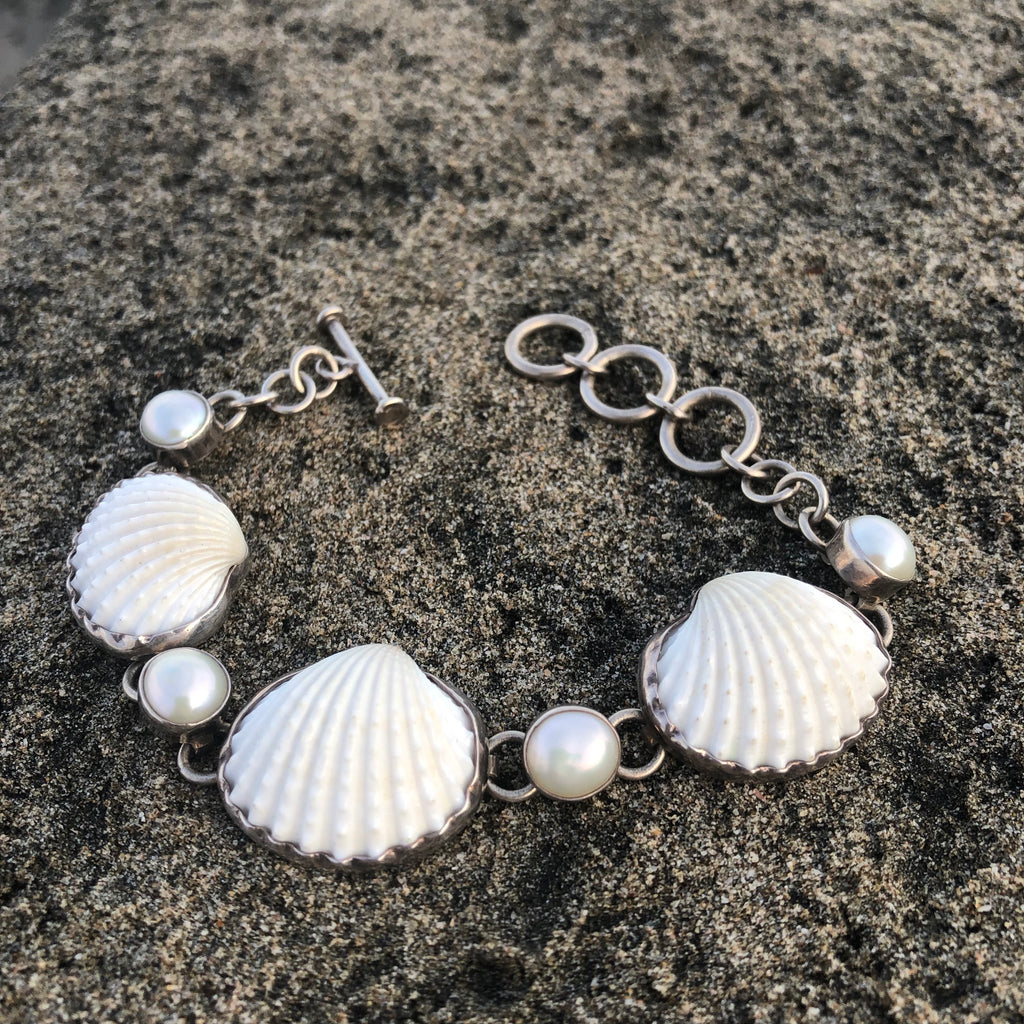 Pearl and Scallop Shell Silver Link Bracelet-Jenstones Jewelry