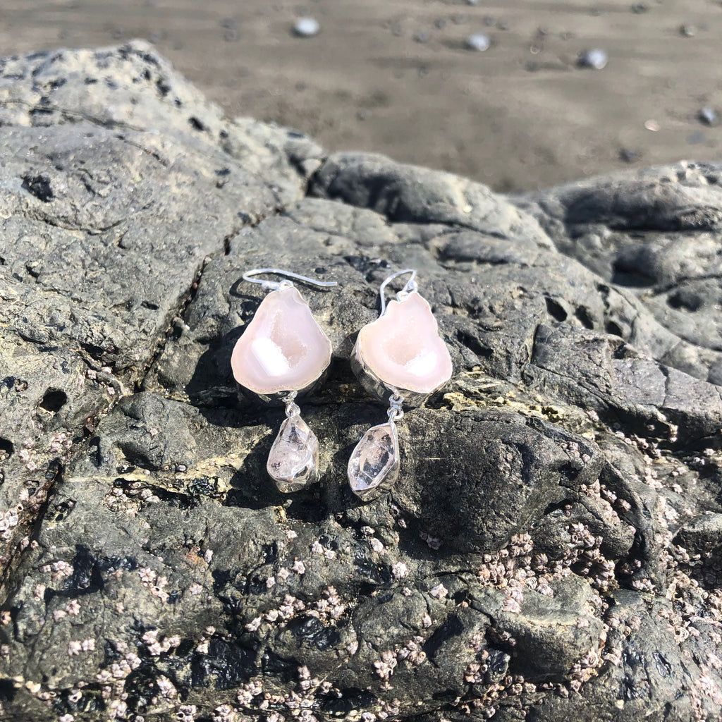 Herkimer Diamond & Druzy Agate Earrings-Jenstones Jewelry
