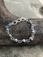 Load image into Gallery viewer, Black Fresh Water Pearl Link Bracelet-Jenstones Jewelry