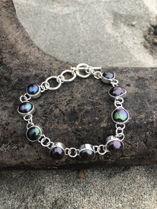 Black Fresh Water Pearl Link Bracelet-Jenstones Jewelry