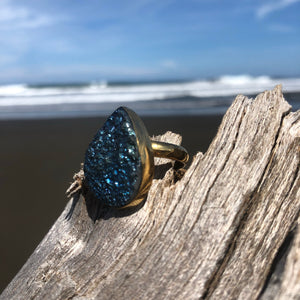 Druzy Bronze Ring Titanium Blue-Jenstones Jewelry