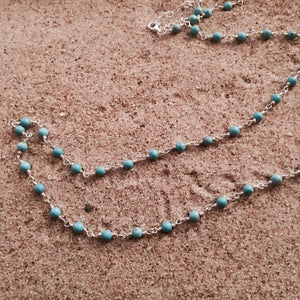 Turquoise Chain Link Necklace-Jenstones Jewelry