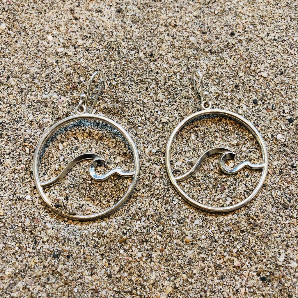 Nosara Wave Hoops Sterling Silver-Jenstones Jewelry