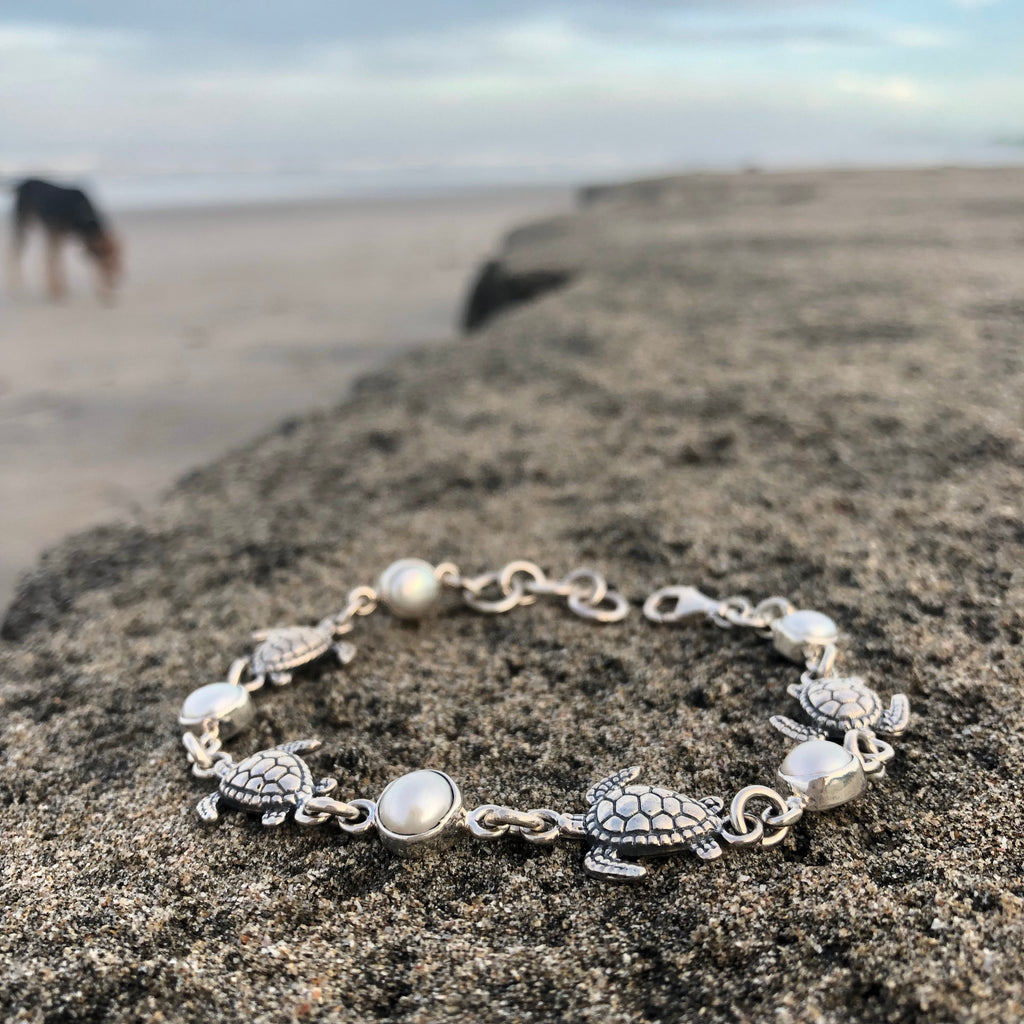 Sea Turtle and Pearl Silver Link Bracelet-Jenstones Jewelry