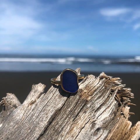 Bronze Sea Glass Blue Small