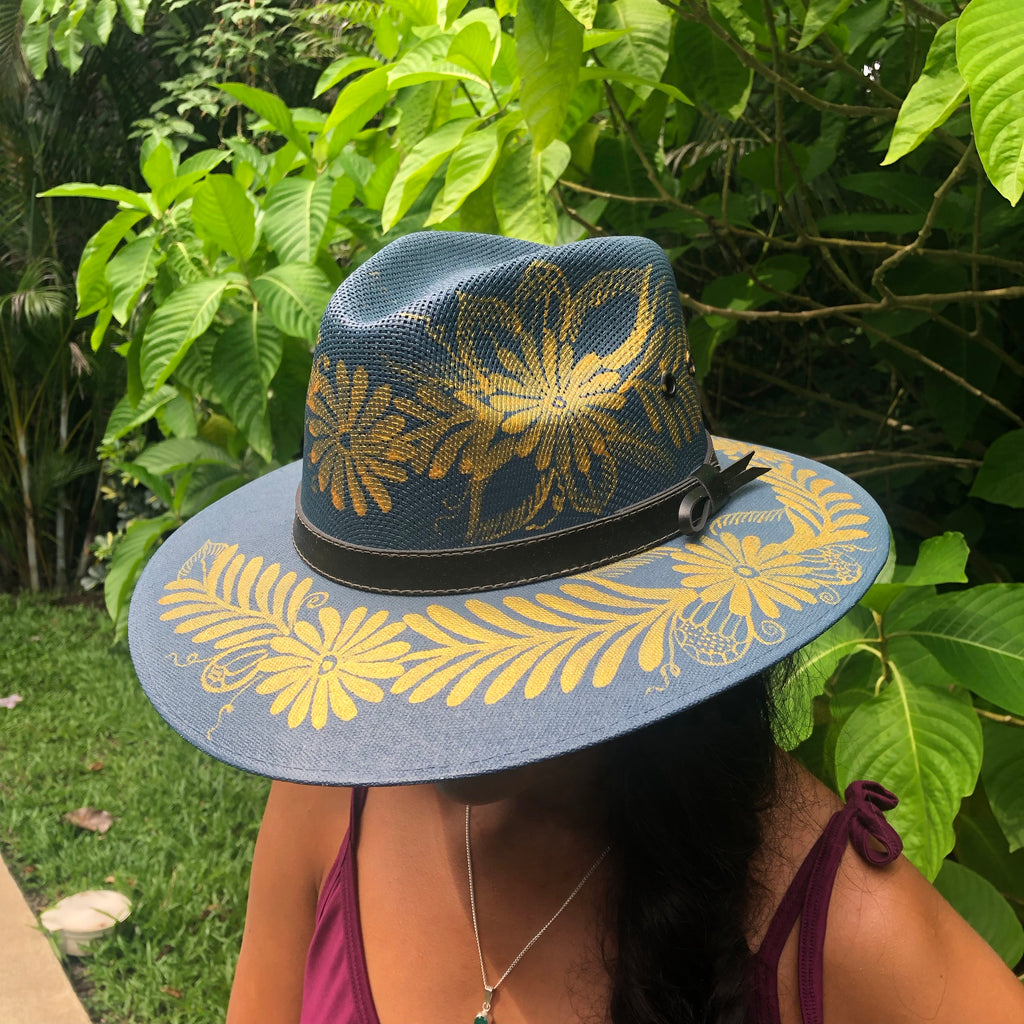 Sombrero Blue w/ Gold Paint-Jenstones Jewelry