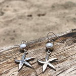Load image into Gallery viewer, Starfish and Pearl Sterling Dangle Earrings-Jenstones Jewelry