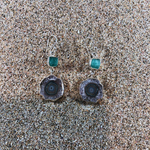 Emerald & Geode Druzy Earrings-Jenstones Jewelry