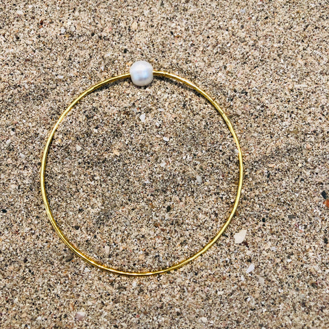 Hammered Bronze Bangle with Pearl
