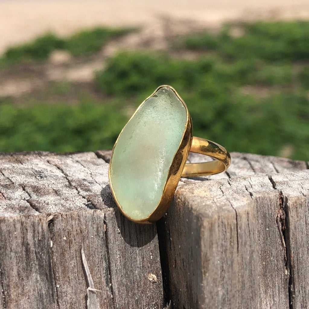 Bronze Sea Glass Ring Sea Foam Green Long-Jenstones Jewelry