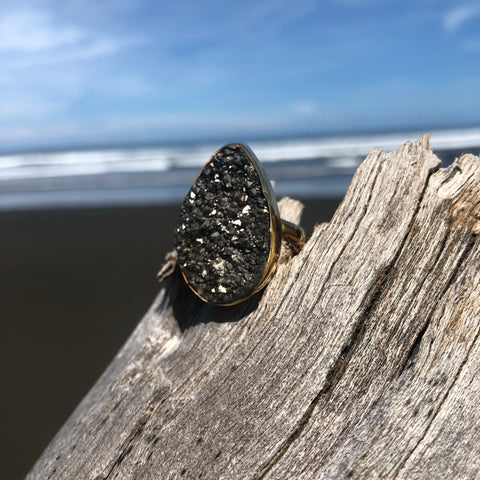 Druzy Bronze Ring Platinum