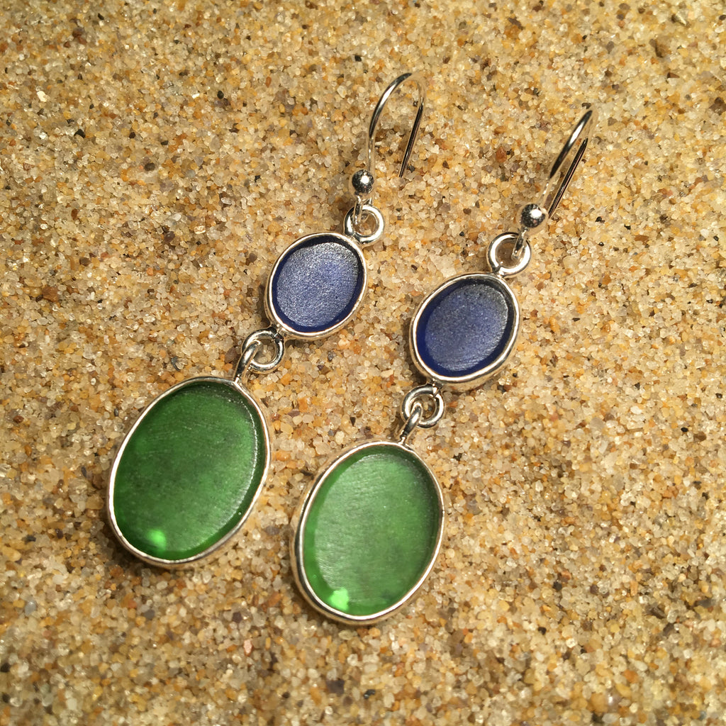 Dangle Earrings Sea Glass Double Drop