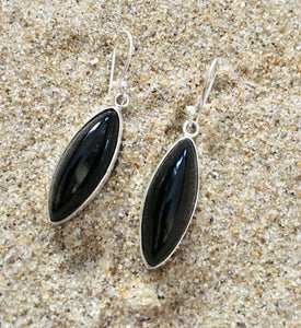 Drop Earrings Sterling and Onyx Shaft-Jenstones Jewelry