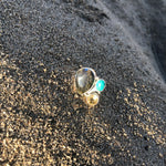 Load image into Gallery viewer, Labradorite, Turquoise and Citrine Ring-Jenstones Jewelry
