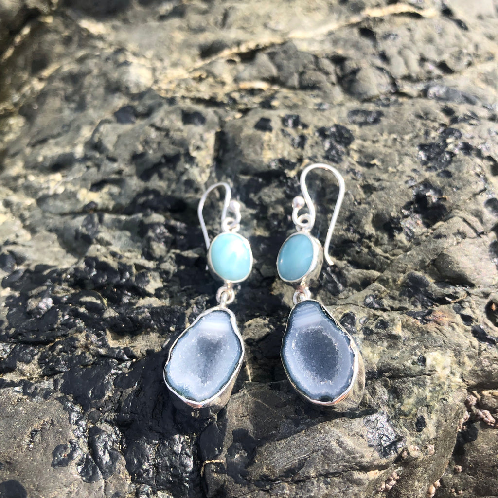 Geode & Larimar Earrings-Jenstones Jewelry
