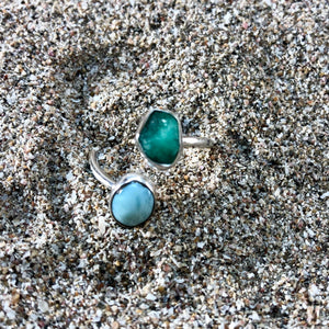 Emerald and Larimar Wrap Ring-Jenstones Jewelry