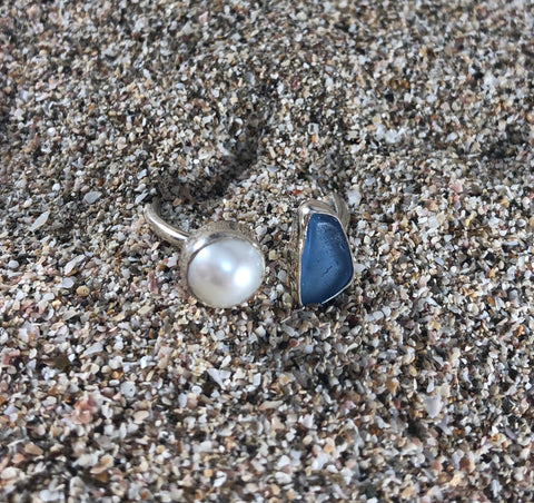 Wrap Around Ring Blue Sea Glass and Pearl