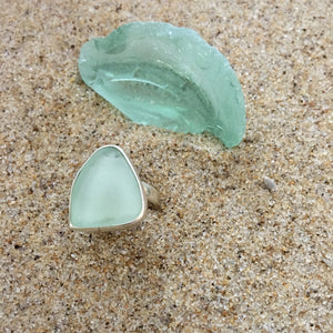 Ring Sterling and Ice Green Sea Glass-Jenstones Jewelry