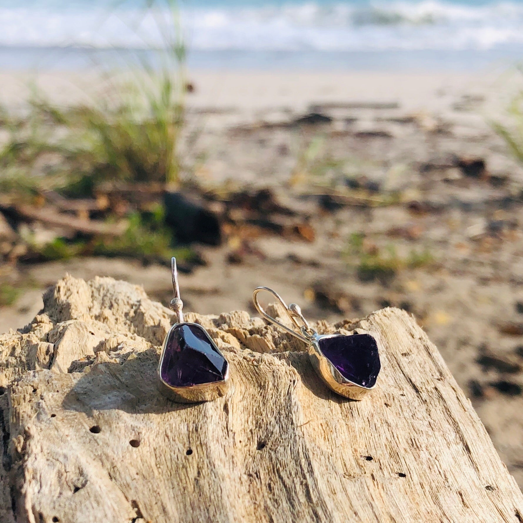 Raw Amethyst Earrings-Jenstones Jewelry
